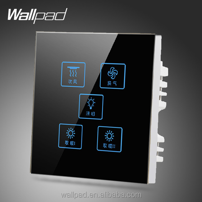 2015 Wallpad Customize LED UK Black Waterproof Crystal Glass Touch switch 110~250V 5 gang 1 way Touch Light Wall Switch