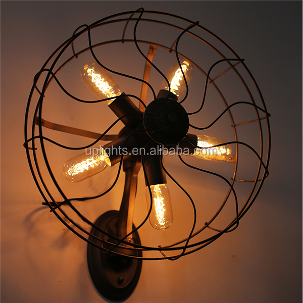 Zhongshan city vintage style black wall mounted fans wall light
