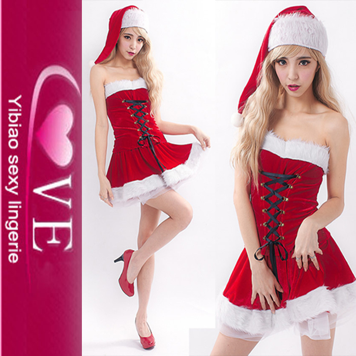 With Hat Strapless Santa Dance Dress Christmas Santarina Costume For Girls