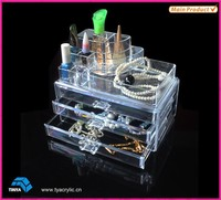 Wholesale Alibaba Alibaba Express Makeup Acrylic Organizer, Makeup Compact Storage with Two Drawers