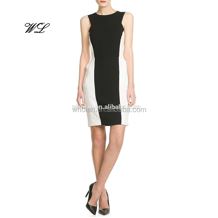 Two tone sleeveless sheath dress for women's, skinny alibaba wholesale dress