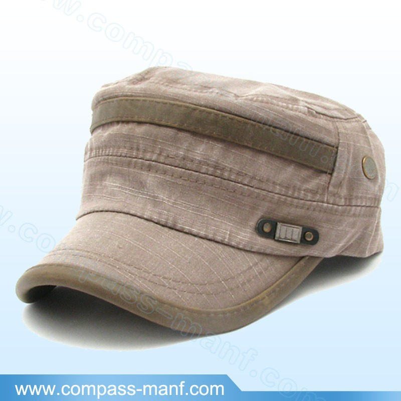 2017 New Binding Brim Washed Khaki Military Army Cadet Hat