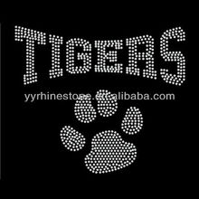 Tigers Pawprint Hot Fix Rhinestone Iron On Transfer