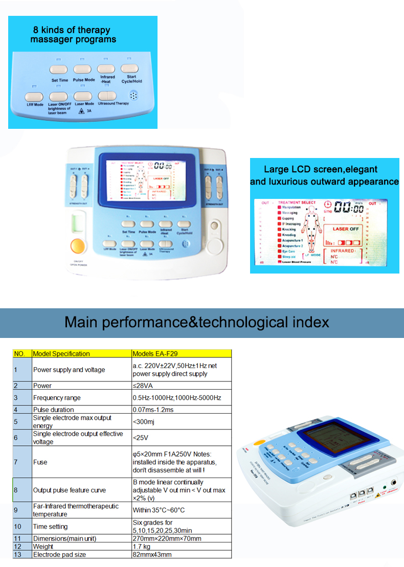 EA-VF29 electric physical therapy pain relieving physiotherapy electrotherapy device with ultrasound