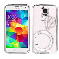Metal Bumper Diamond Ring Cover Bling Bling Cellphone Case For Samsung S4/S5/9600 Note2/Note3
