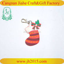 rubber key chain 3d Christmas sock shape pvc keyring pvc rubber keychain