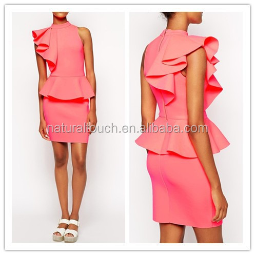2015 New Ruffle Dress/Casual dresses designs/ladies office wear WS00139