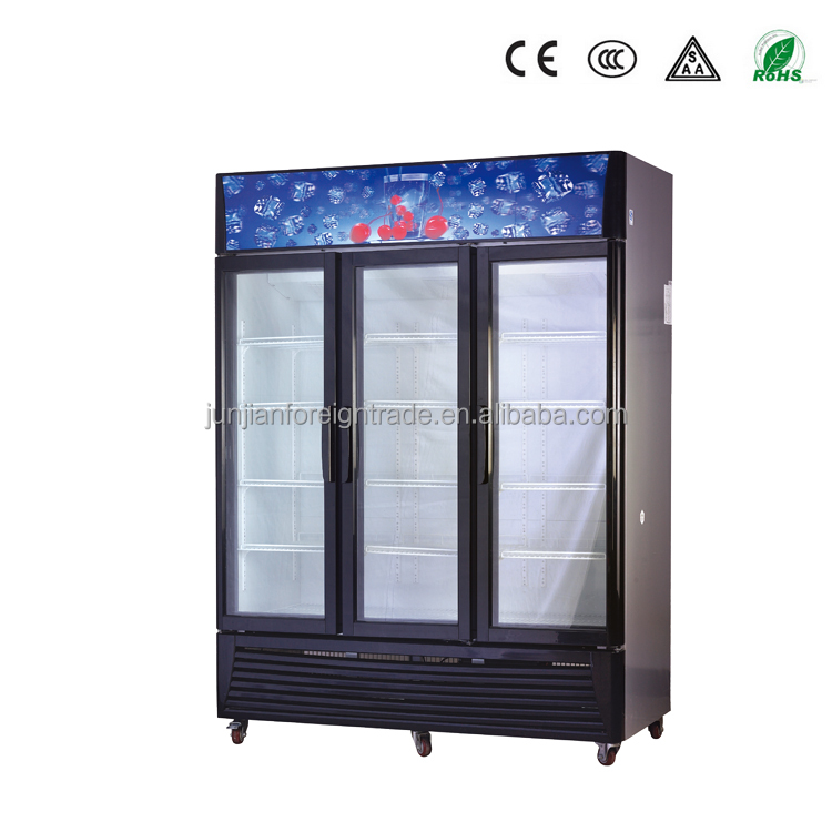 china factory OEM supemarket equipment air-cooled or static cooling optional 3 door glass display mobile freezer for drinks