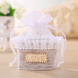 Burlap Small/Tiny Love Basket Bag with Lace Trim Organza Rustic Shabby Chic Bridesmaid Favor Bag (BF-0045)