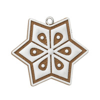 Fashional Charm Christmas Hexagon Coffee & White Polymer Clay Charm Pendants