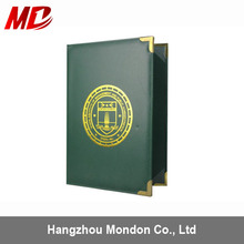 Degree Certificate Cover customized color with metal corner PU leather certificate holder -Tent Style