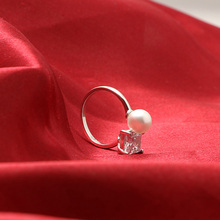 Elegant Pearl Finger Open Double Rings 925 Sterling Silver Jewelry