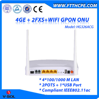 GPON Access 4GE+2FXS+USB+ 11AC WiFi ONU Wireless Triple Play Device