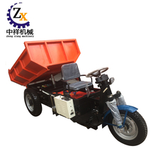 Motorized three wheel dump electric tricycle for loading bricks