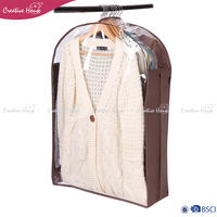 ECO-friendly custom printed home & travel clothes suit cover clear pp plastic non woven suit garment bag for packing