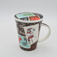 Christmas promotion coffee mug ceramic with cover