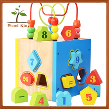 Early Education Solid Geometry Building Blocks Beaded Intelligence Box Funny Mini Bricks Childrens Wooden Toys