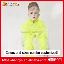 Factory audit BSCI bright yellow 1.8meters long 50g DIY color turkey chandelle feather cheap boas wholesale