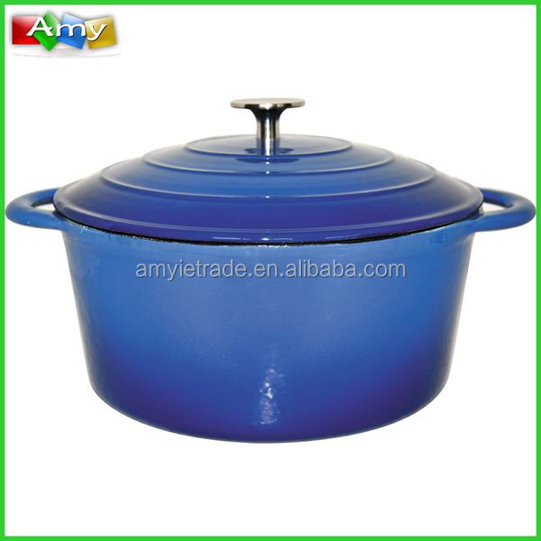 SW-KA24Y/26Y/28Y Blue Cast Iron Cookware Casserole With Stainless Steel Knob