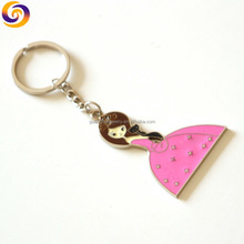 2018 Wholesale enamel custom design long pink skirt hot girls key chain