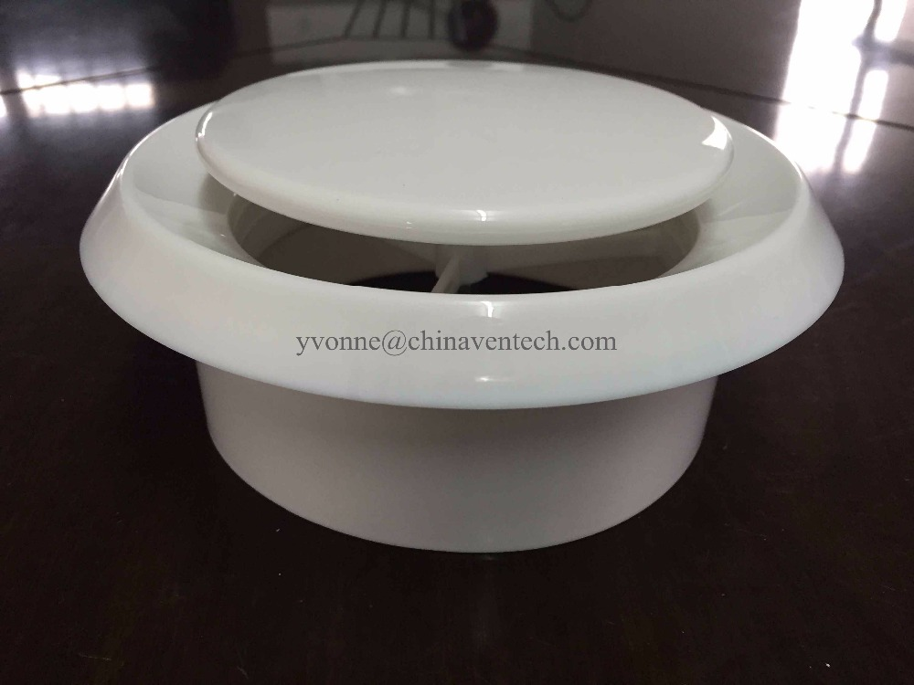 Exhaust air disc valve plastic round ceiling air diffuser