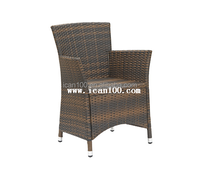 powder coated aluminum PE rattan stacking outdoor garden dining chair