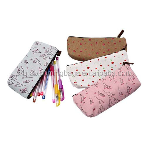 Lovely Design Canvas Pen Stationery Pouch Bag Pencil Case For Girls