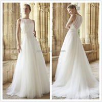 A-Line Scalloped Made To Measure Wedding Dresses Brides Gowns SLZ09 Vestidos De Noiva 2014 Wedding Dresses