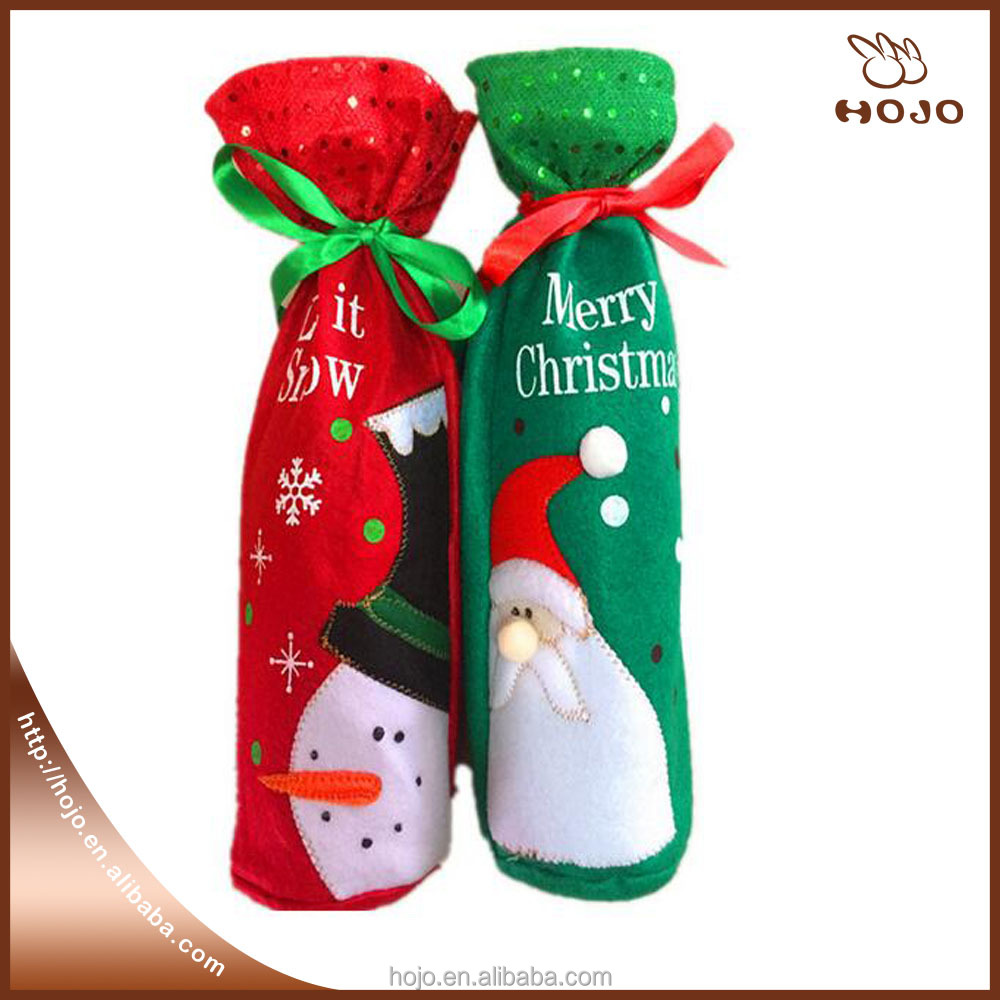 Merry Christmas Table Decoration Snowman Wine Bottle Bag Christmas Red Green Color 13*32cm
