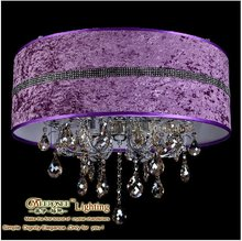 Decorative Romantic Purple Fabric Ceiling Light,Crystal Ceiling Lamp Modern Light