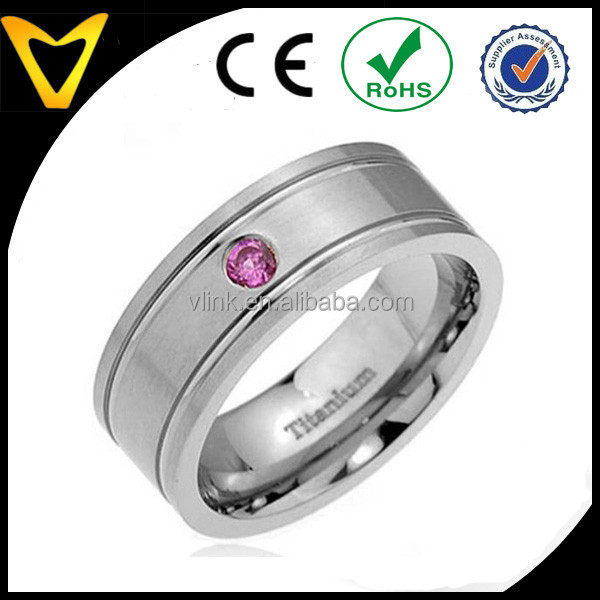 Tempting Titanium Ring Wedding Band, Titanium Inlays, 8mm Titanium Pip Cut Band Round Synthetic Pink Sapphire Men's Wedding Ring