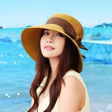 Fashion graceful bowknot decoration wide brim floppy paper lady straw hat