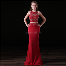 Two Piece Halter Neck Low Back Beaded Rhinestone Burgundy Sheath 2018 OEM Custom Made Women's Prom Dress