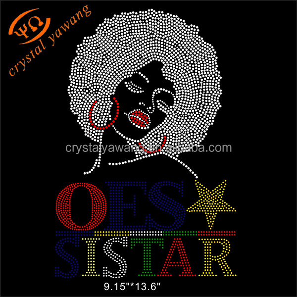 custom hotsale rhinestone trasnfer order of eastern star for t-shirt