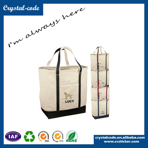Fashionable Low Cost Canvas Shoulder Tote Bag With Outside Pockets