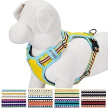 JIXIN Pet Soft & Comfortable 3M Reflective Multi-colored Stripe Mesh Padded Dog Harness Vest