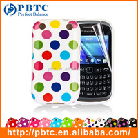 Set Screen Protector And Case For Blackberry 9320 , Polka Dots Gel TPU Cute Phone Cover