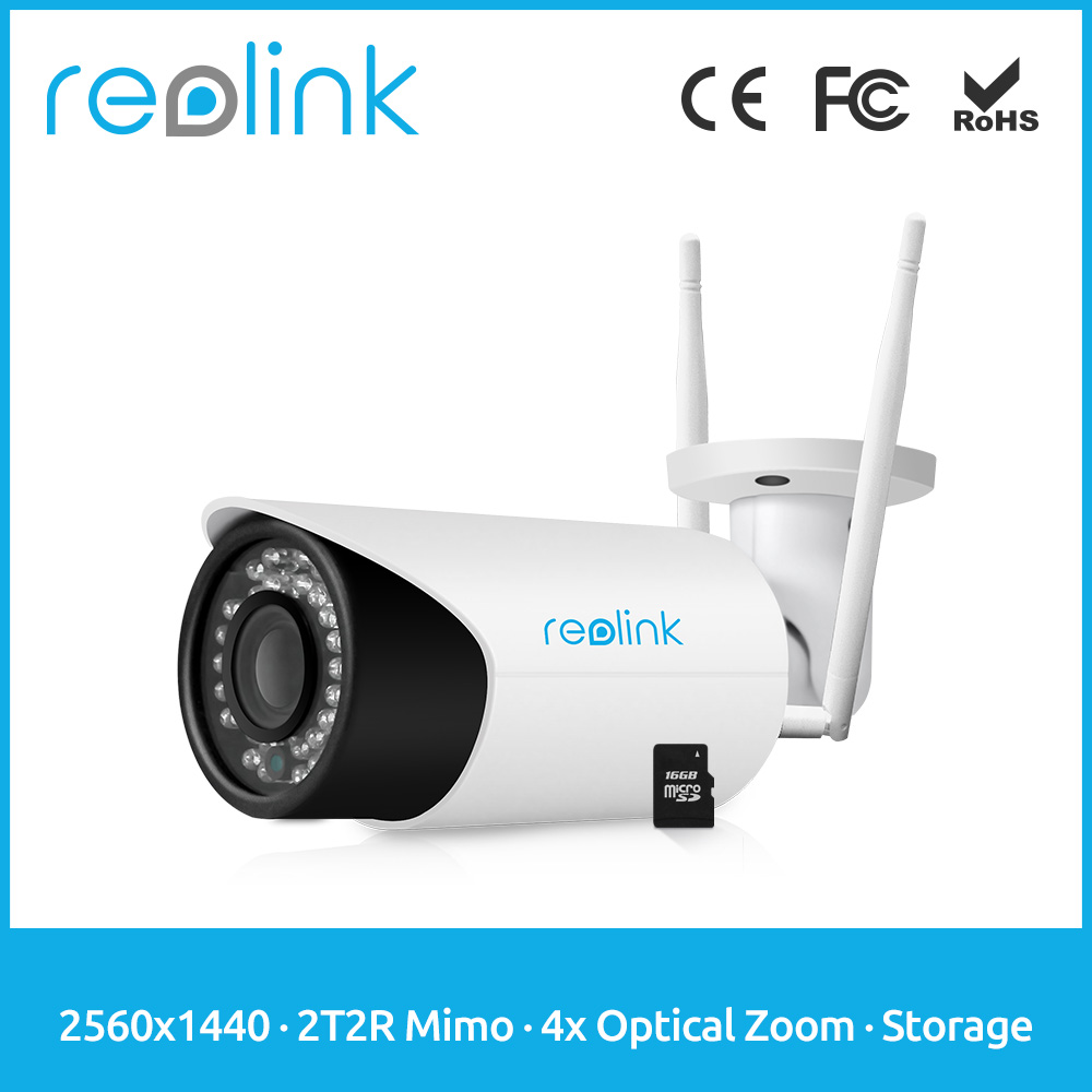 Reolink CCTV Wireless Camera HD 4Megapixel 4x Optical Zoom WiFi IP Cam w SD Card for Recording RLC-411WS