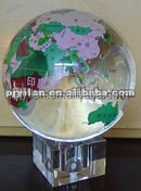 pretty crystal ball 100 mm engraved crystal glass earth globe crystal globe in hand decorative glass ball world globe