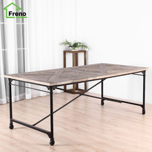 Vintage Industrial Furniture Solid Wood 8 Seater Dinner Table French Country Style Recycled Wood Dining Table With Wheels