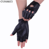 Breathable Half Finger Leather Driving Glove Hole Black Genuine Leather Women Gloves