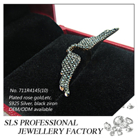 Cute for girls princess jewelry 925 silver black CZ micro paved finger rings with Angel wing