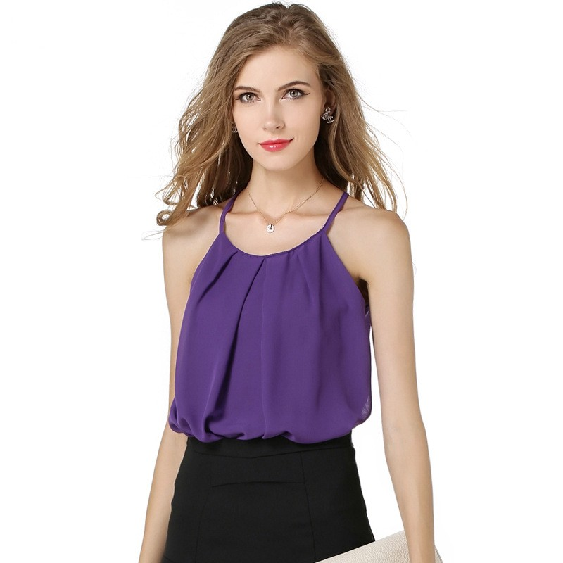 ZH00244B New arrival fashion chiffon sexy ladies halter top