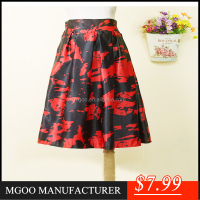 Top Quality Soft Red Color Vintage Skirt Long Midi Print Skirt Long Pattern A298
