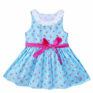 Kseniya Kids lace floral baby girl dresses summer sleeveless toddler girl clothes with sashes