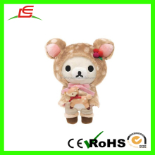 ICTI Hot Sale Hat And Shawl Conjoined Rilakkuma Bear Plush Toy Holding Deer