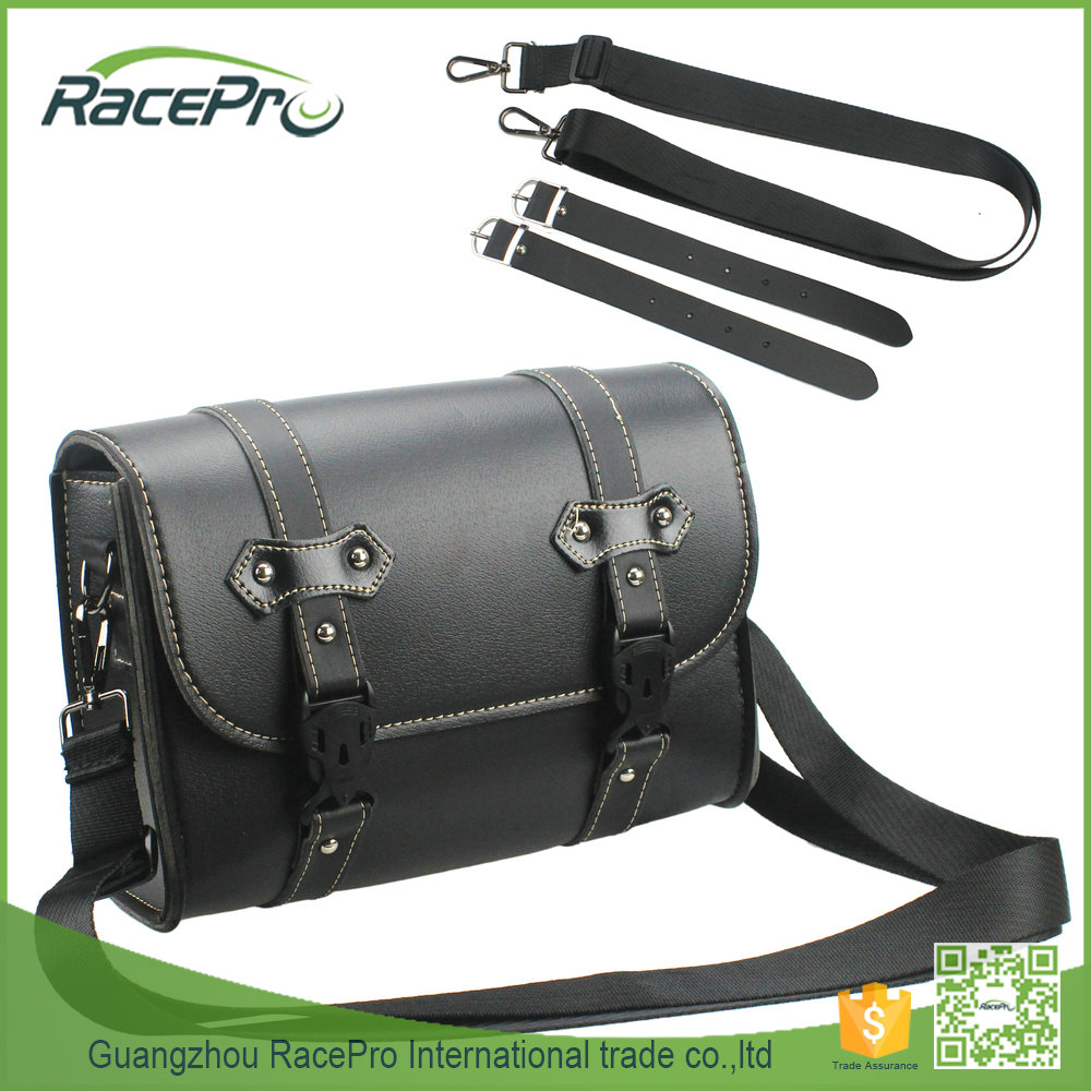 Black Leather Bag Storage Tool Pouch Motorcycle Saddle Luggage For Harley