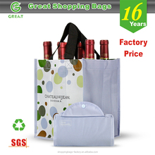 Foldable Non Woven Polypropylene CMYK Laminated Wine Bottle Bag,6 Bottle Wine Bag