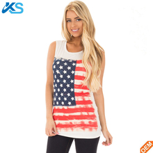 Wholesale Plus Size American Flag Printed Relaxed Sleeveless Tshirt Blouse Womens linen Tank Top