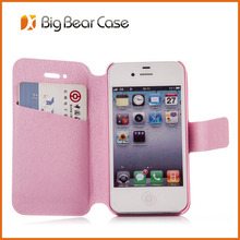 Flip leather wallet cell phone case for iphone 4